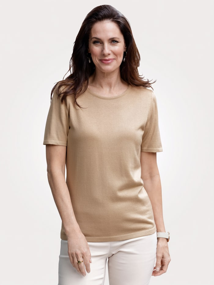 MONA Pullover in T-Shirt-Form, Beige
