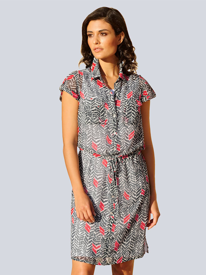 Alba Moda Kleid in grafischem Dessin allover, Marineblau/Off-white/Rot