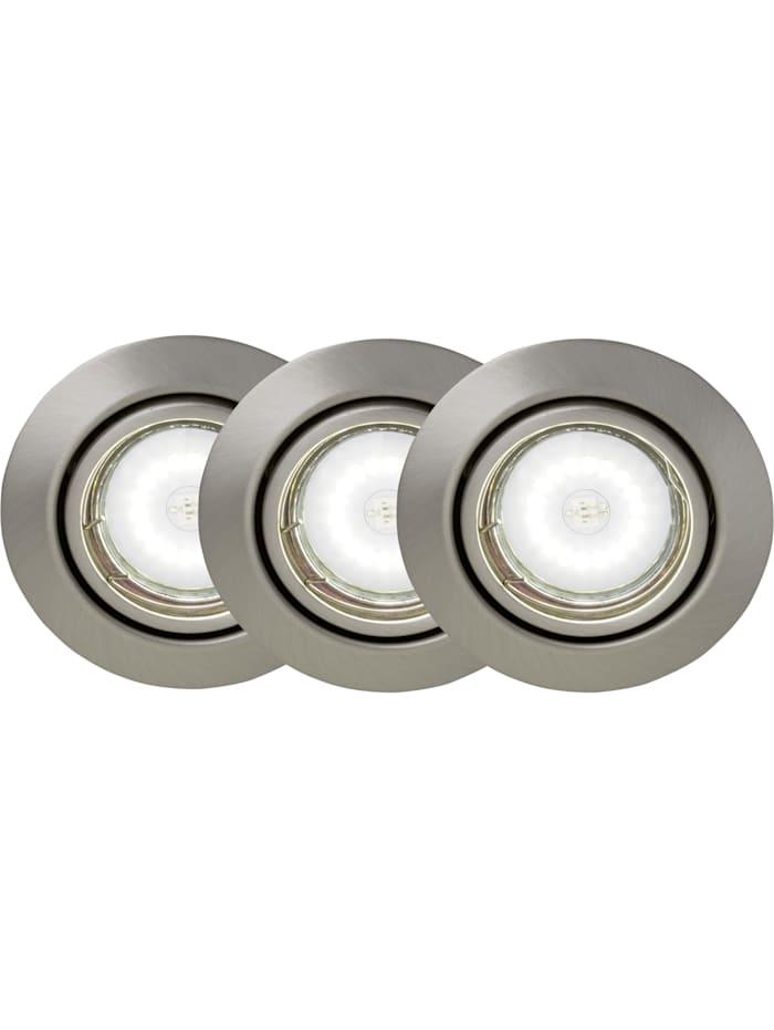 Brilliant Honor LED Einbauleuchtenset: 3 Stück schwenkbar eisen/kaltweiß, eisen/kaltweiß