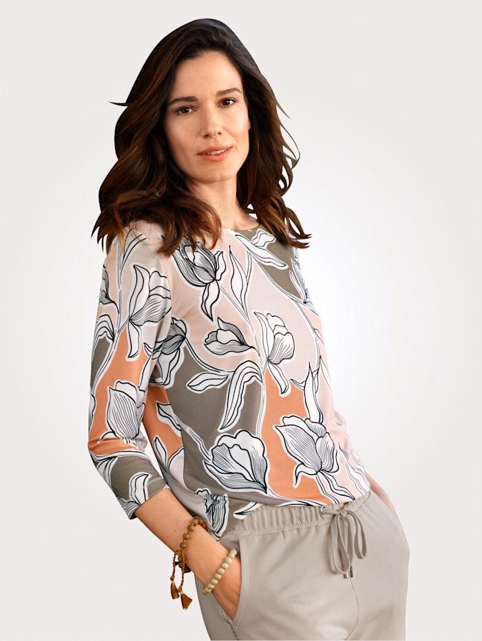 MONA Shirt met bloemenprint, Roze/Aarde/Kit