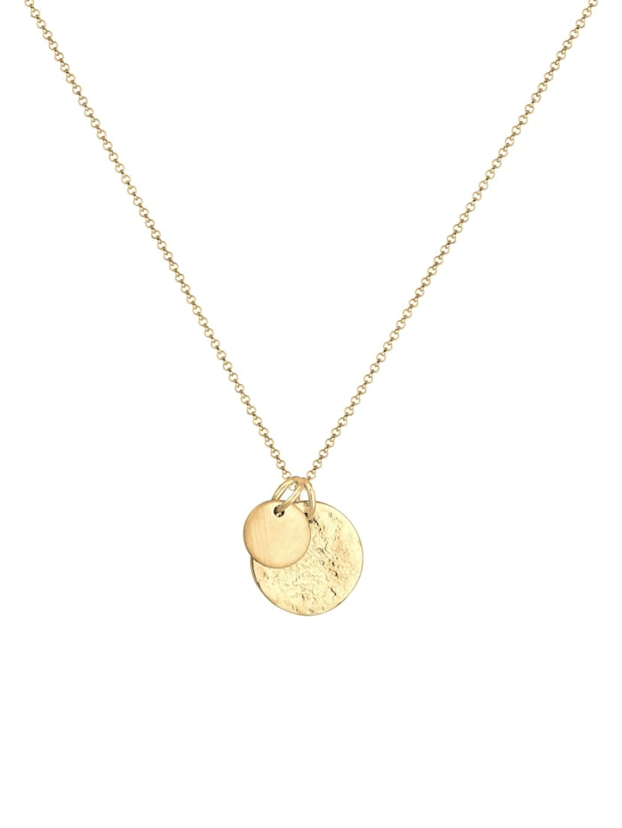 Halskette Plättchen Münzen Geo-Organic Look 925 Silber