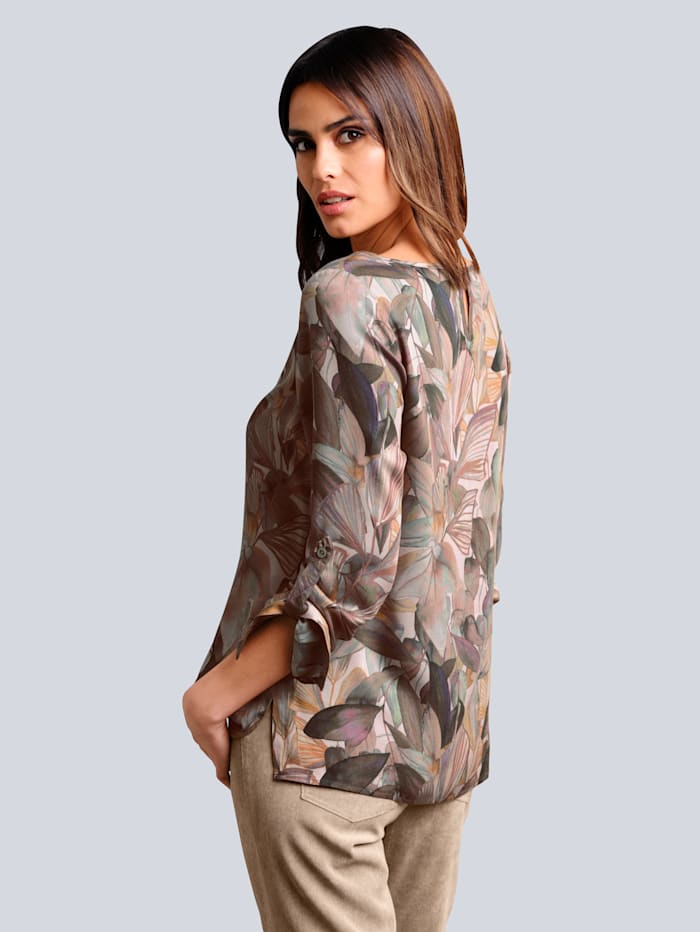 Blouse met abstract bladerendessin allover