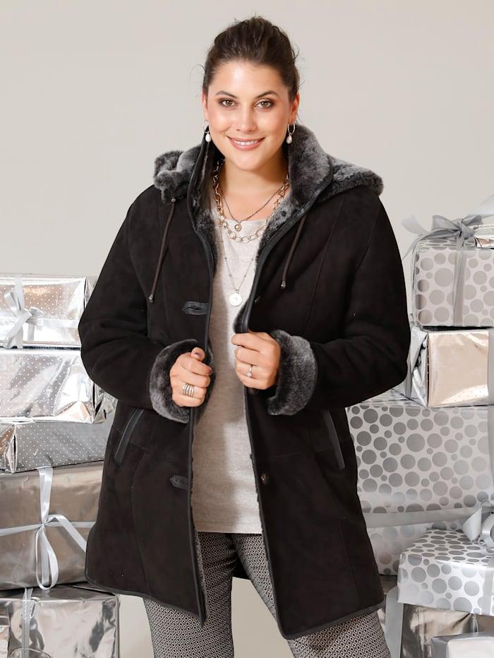 MIAMODA Mantel aus hochwertig verarbeitetem Lammfell, Schokobraun