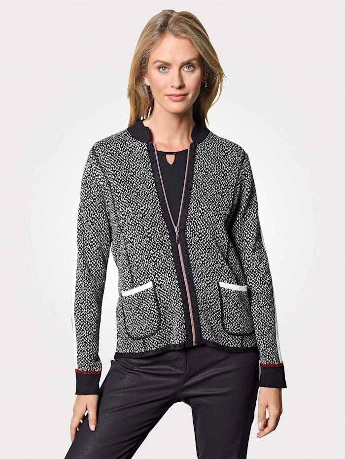 MONA Cardigan made from jacquard knit fabric, White/Red/Black