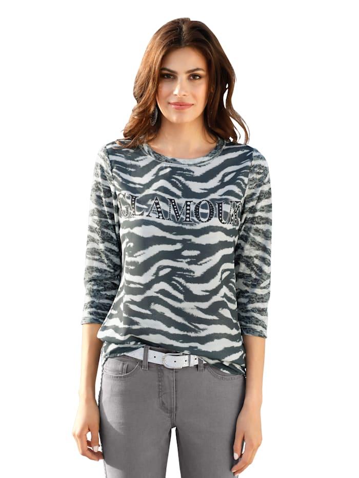 AMY VERMONT Shirt met strassteentjes voor, Grijs/Zwart