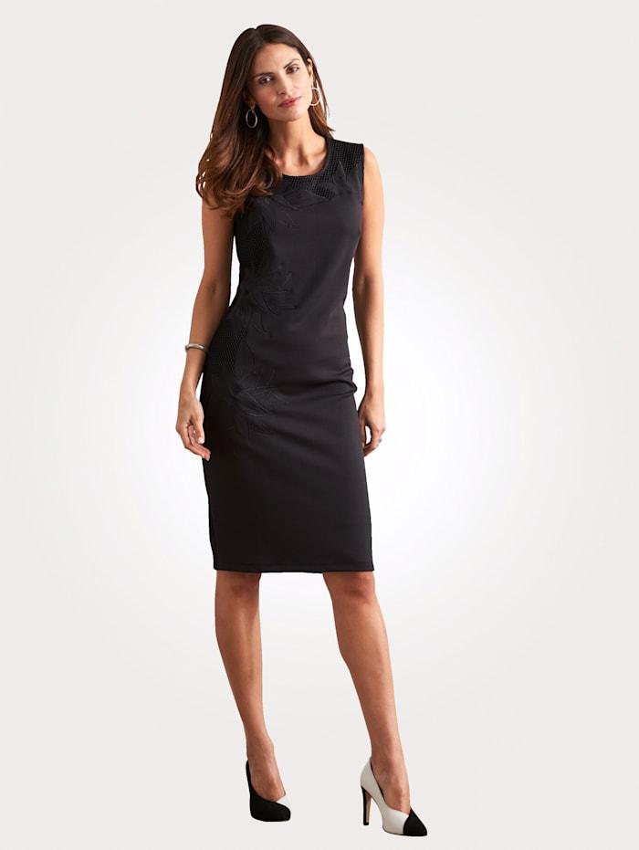 MONA Jerseykleid mit Stickerei und Netzbesätzen, Schwarz