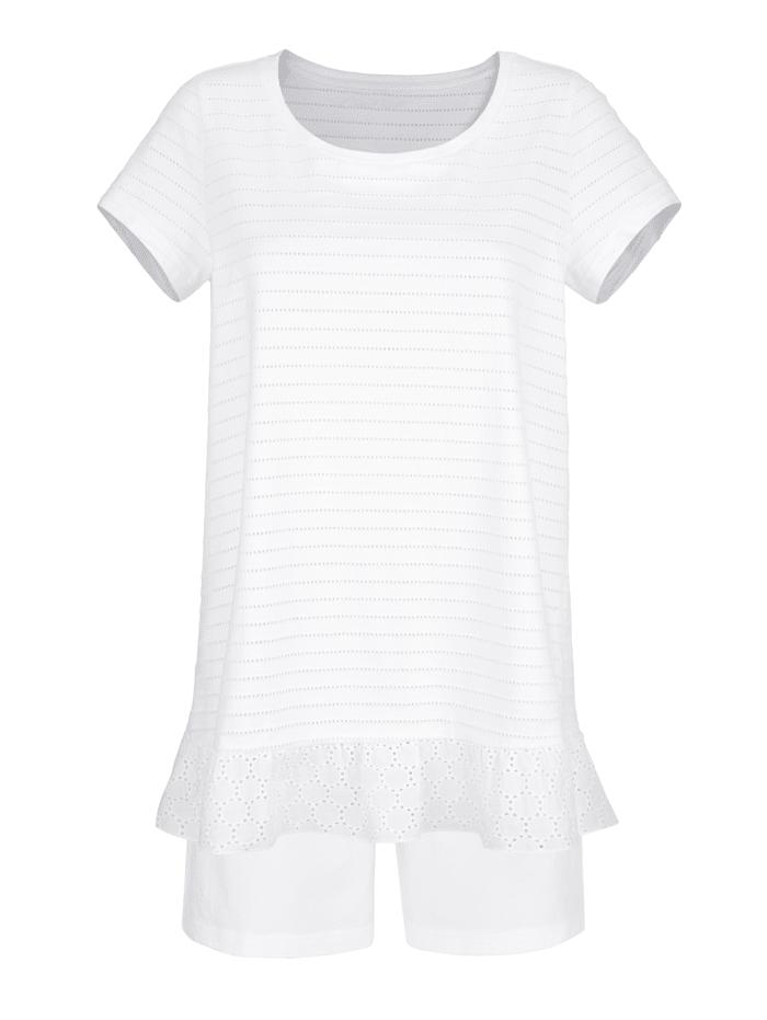 Simone Pyjamas med volang i nederkant, Vit