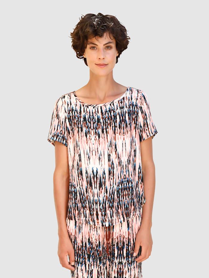 Dress In Bluse mit buntem grafischem Muster, Terracotta