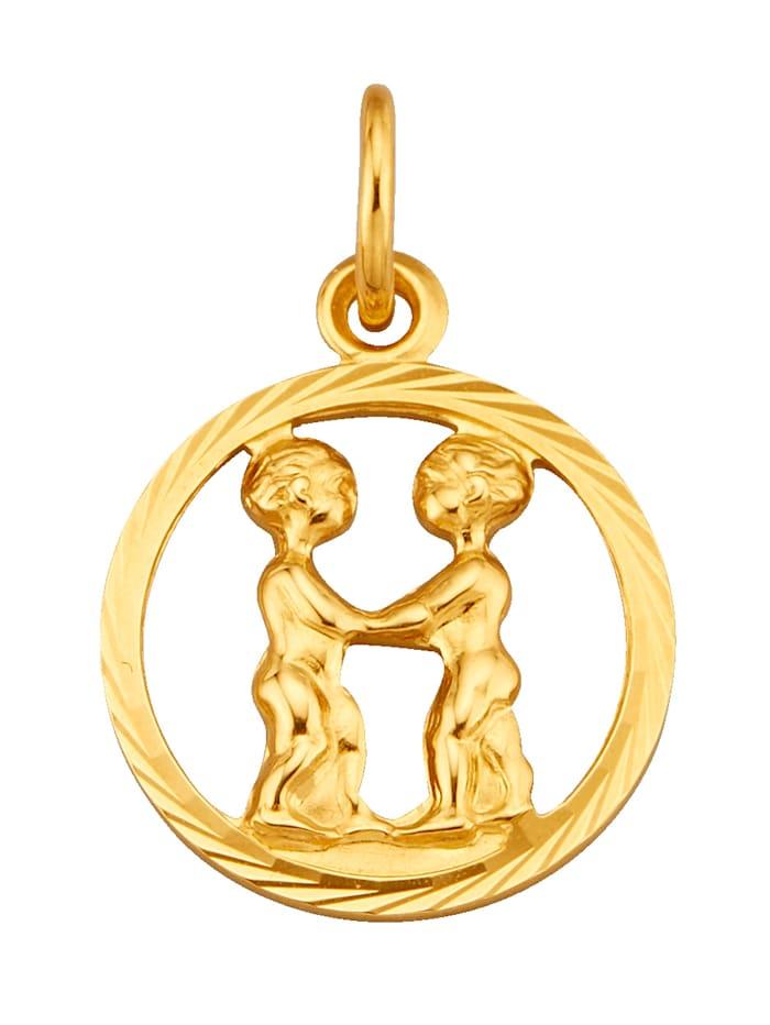 Pendentif Signe du zodiaque Gémeaux, Coloris or jaune