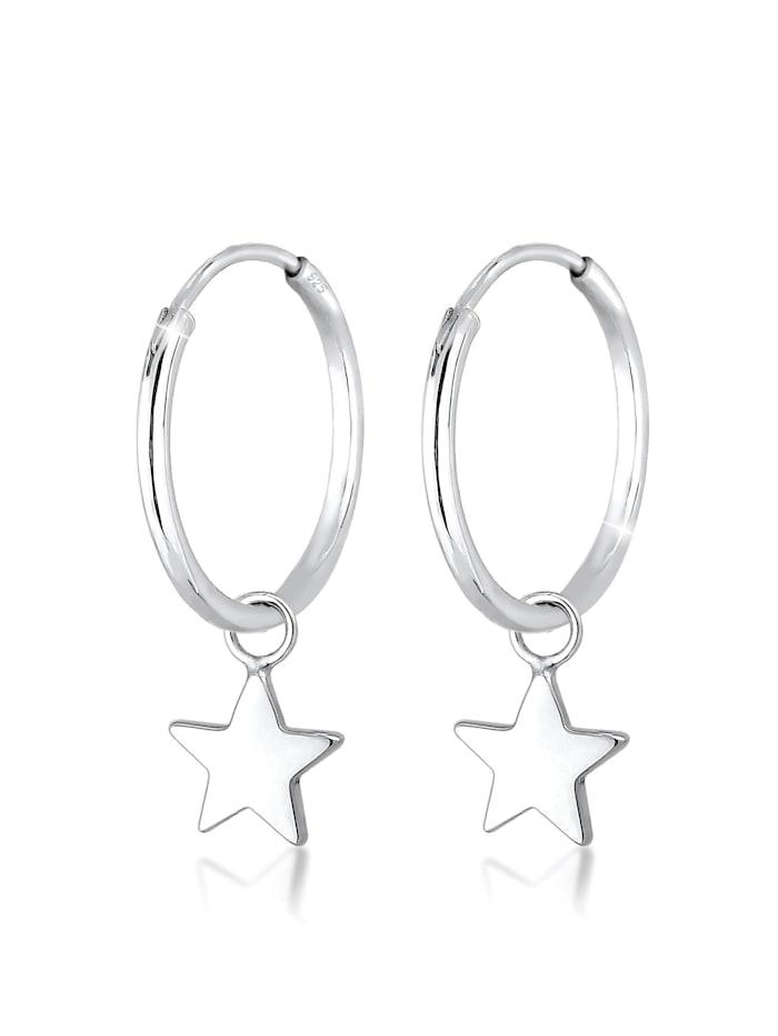 Elli Ohrringe Creolen Hänger Sterne Astro 925Er Sterling Silber, Silber