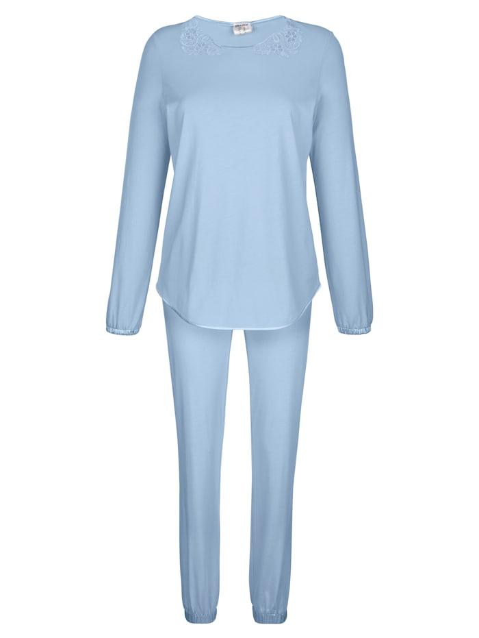 Simone Schlafanzug mit eleganten Spitzendetails, Eisblau