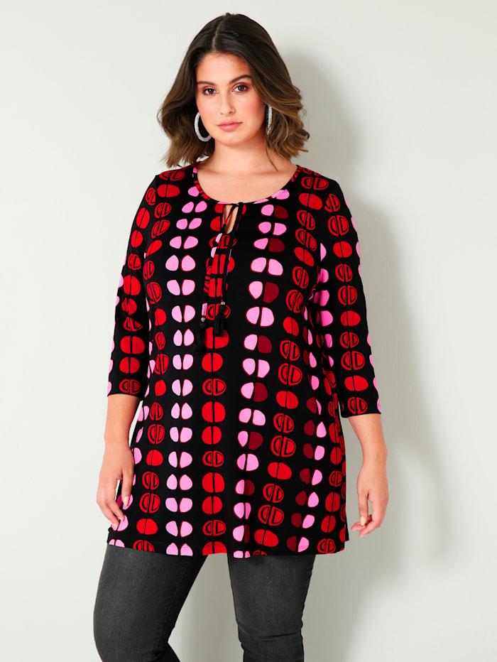 Sara Lindholm Longshirt in flatterend A-model, Zwart/Rood/Pink