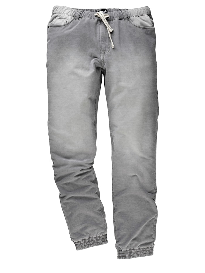 Men Plus Sweatpants in used look, grijs washed