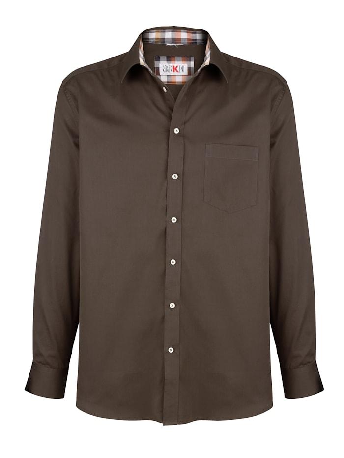 Roger Kent Hemd aus reiner Baumwolle, Khaki