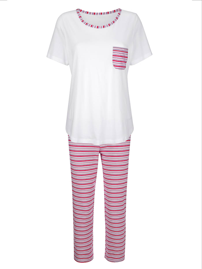 Harmony Schlafanzug im zeitlosen Ringeldessin, Ecru/Fuchsia/Lila