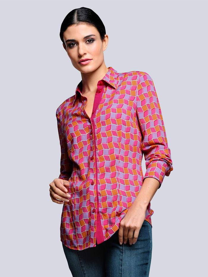 Alba Moda Blus med grafiskt mönster, Korall/Röd