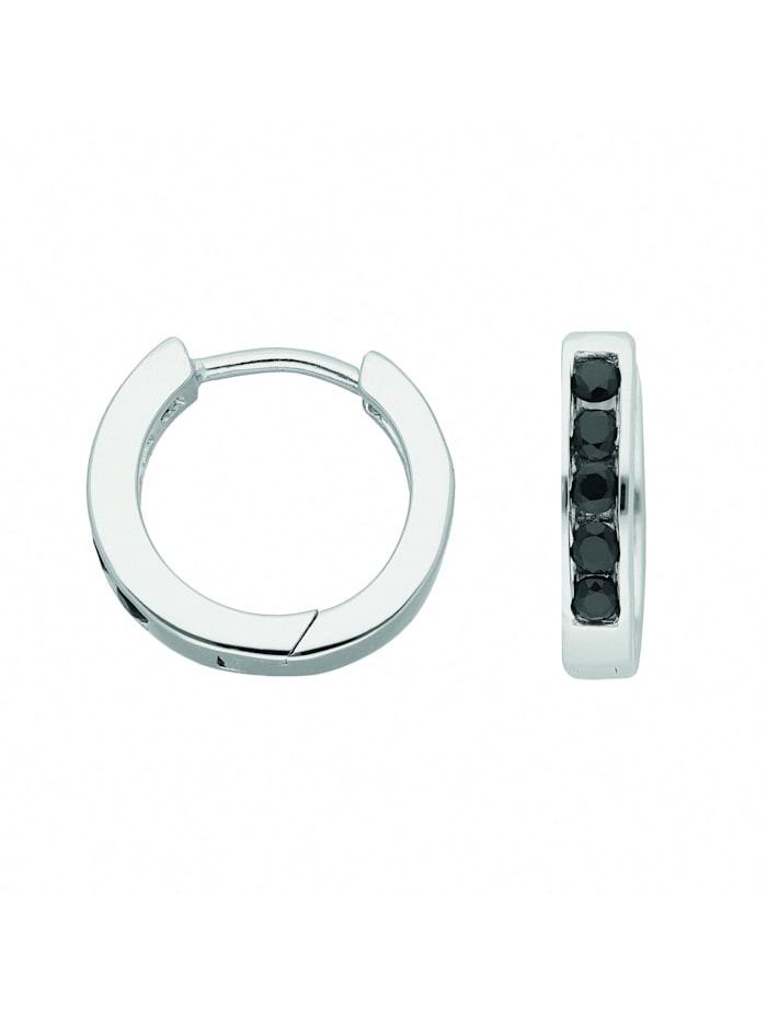 1001 Diamonds Damen Silberschmuck 925 Silber Ohrringe / Creolen mit Zirkonia Ø 15 mm, bunt