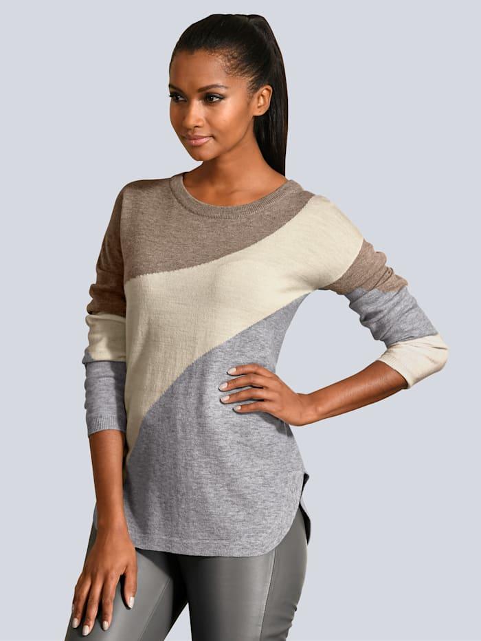 Alba Moda Pullover aus softem Material-Mix, Grau/Creme-Weiß/Braun