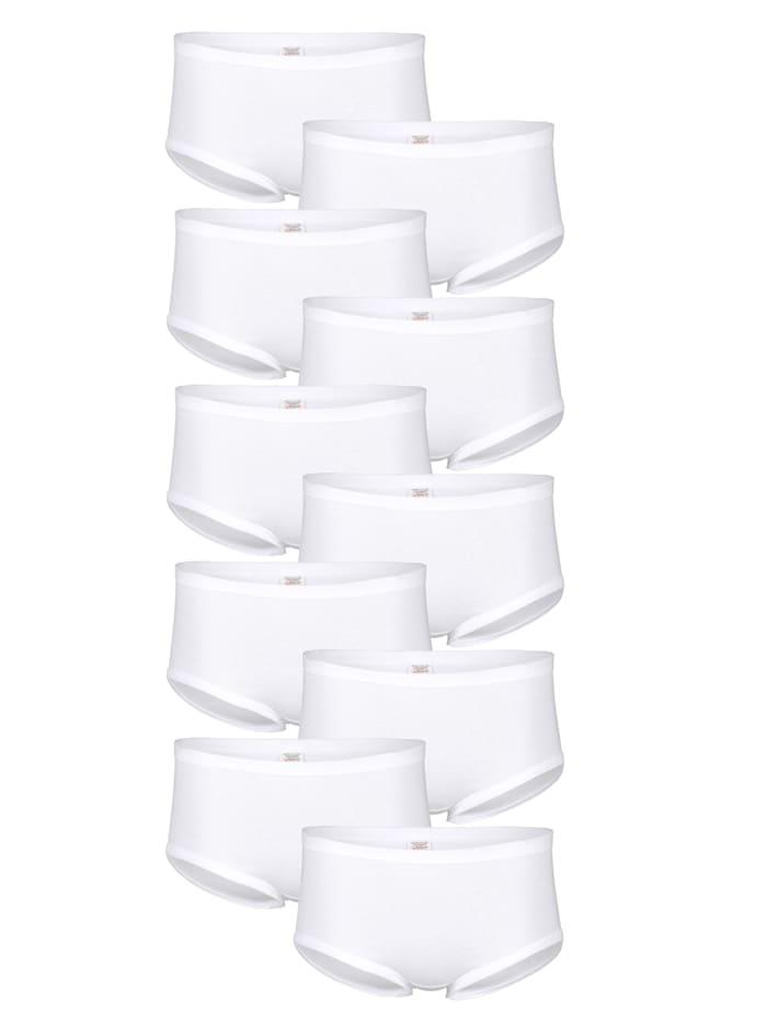 Harmony Taillenslips im 10er Pack mit weichen Elastikbündchen, Weiß