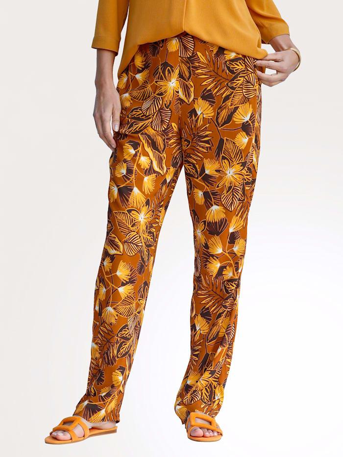 MONA Pantalon à imprimé harmonieux, Ocre/Marron