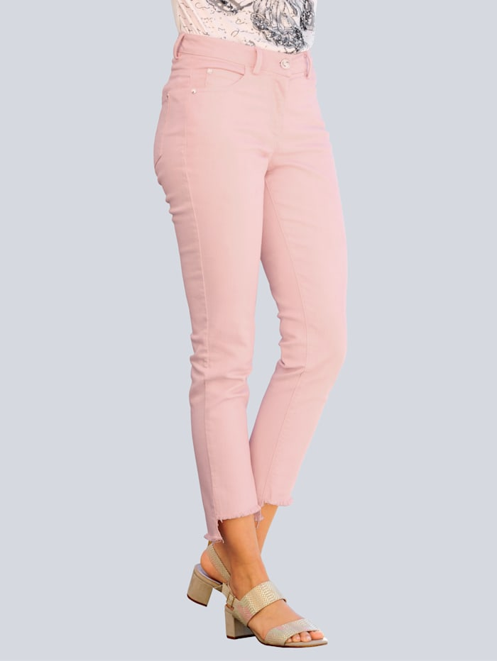 Alba Moda Jeans mit Fransensaum, Rosé