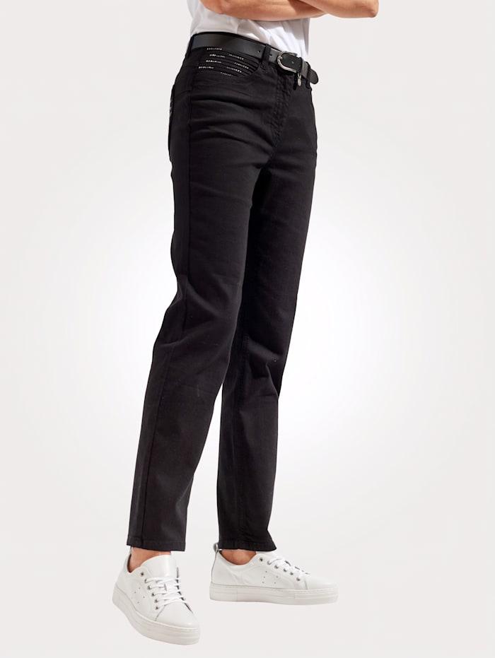 MONA Jeans mit Zierbiesen und Strasssteinchen, Schwarz