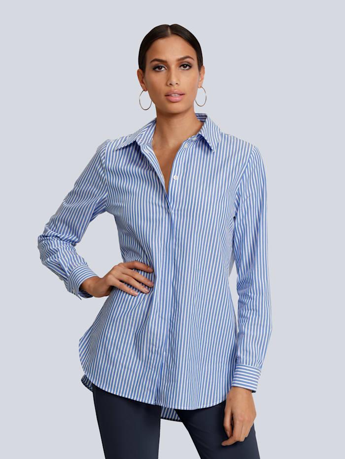 Alba Moda Bluse in modischer Oversized Form, Blau/Weiß