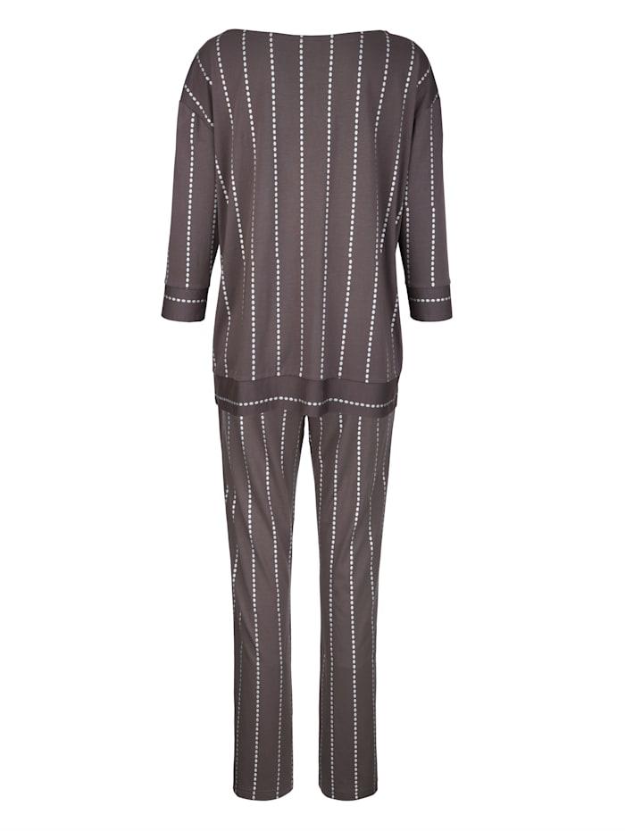 Schlafanzug mit silberfarbenem Punktedruck