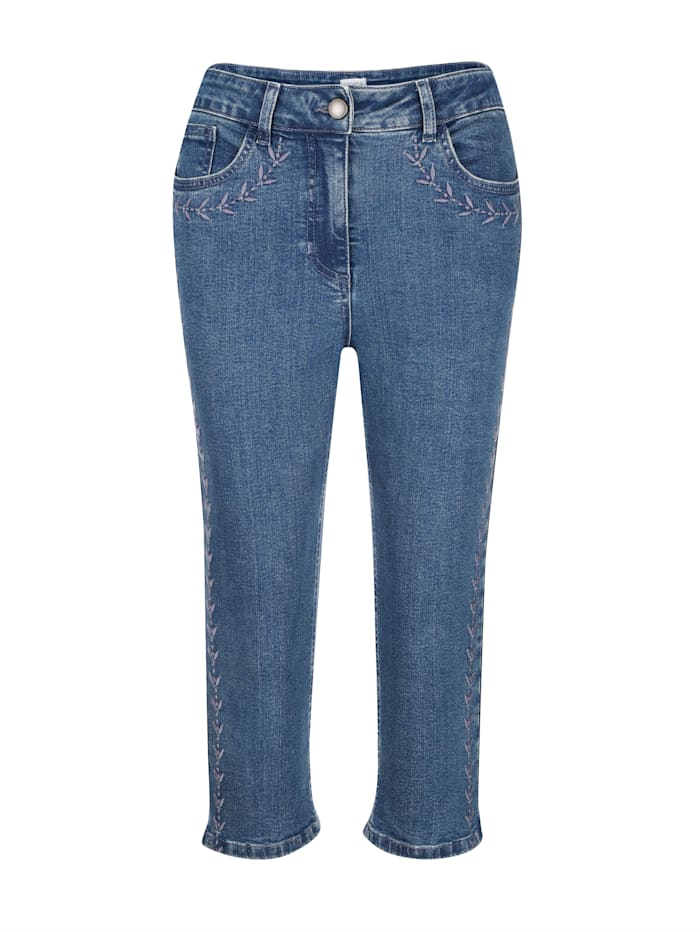 Capri jeans with tonal embroidery