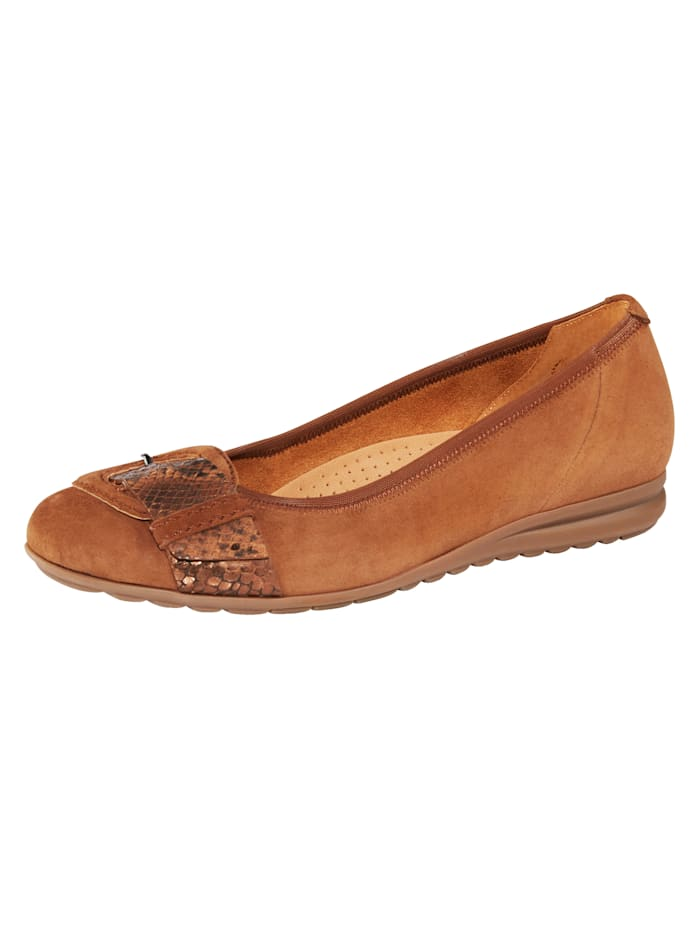 Gabor Ballet Court shoes made from leather, Brown