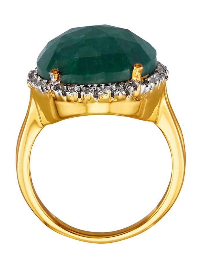 Damenring mit Smaragd mit Smaragd und Weißtopasen