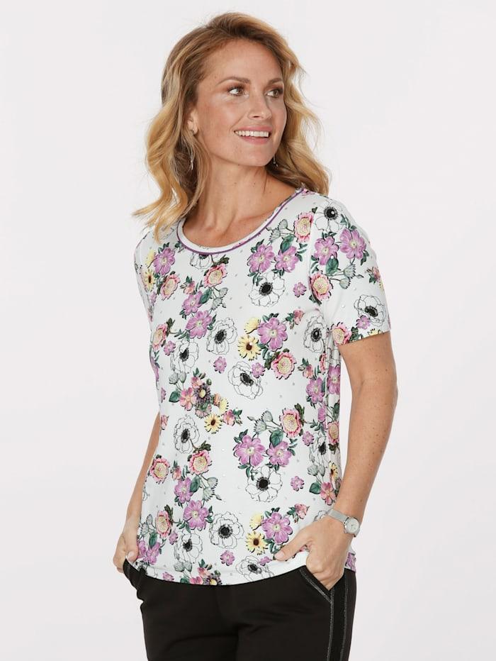 MONA Shirt mit Blumendruck, Ecru/Pink/Gelb
