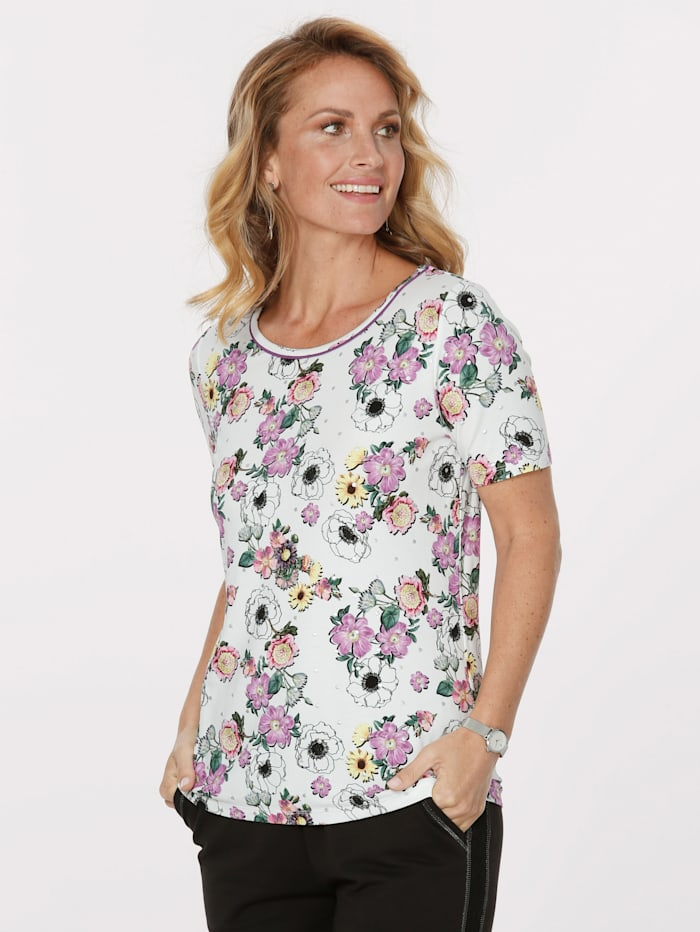 MONA Top with a floral print, Ecru/Pink/Yellow