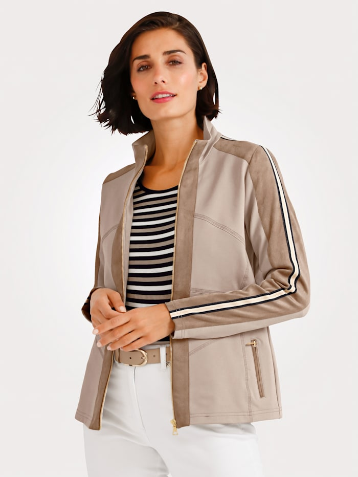 MONA Jacket with faux suede inserts, Beige