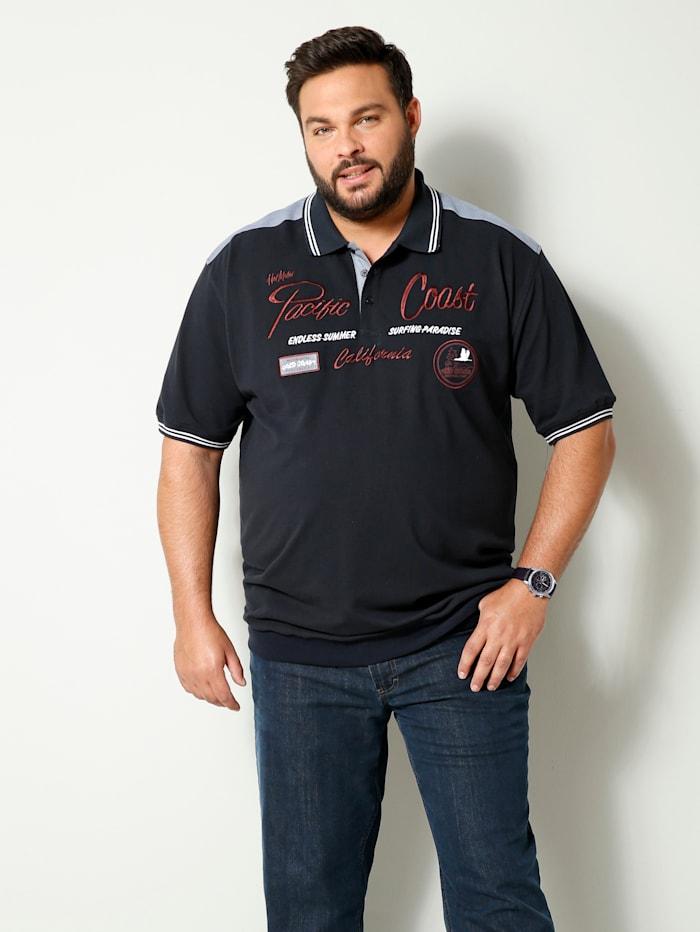 Men Plus Poloshirt met speciale pasvorm, Marine/Bordeaux/Wit