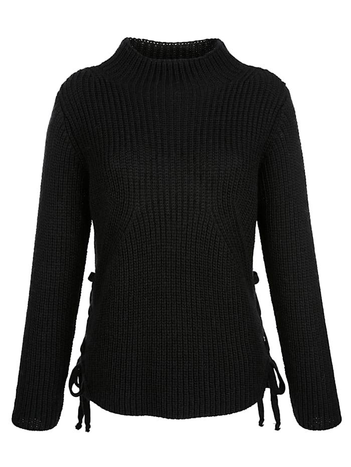 AMY VERMONT Pullover mit dekorativem Zierband, Schwarz
