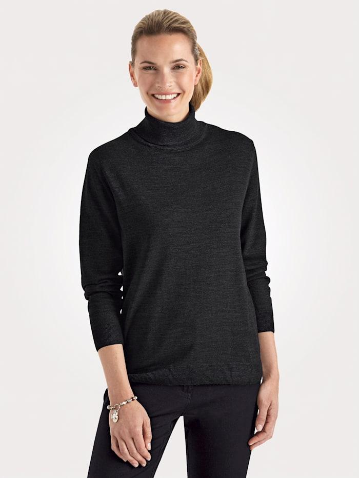 MONA Rollkragen-Pullover mit Merino-Schurwolle, Anthrazit