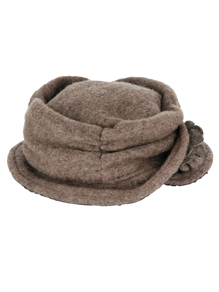 MONA Hat in a warm wool-blend fabric, Brown