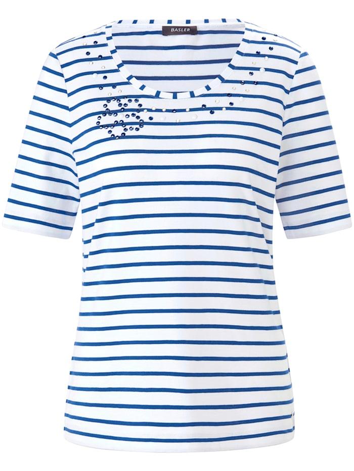 Basler T-Shirt mit Streifen, white-blue