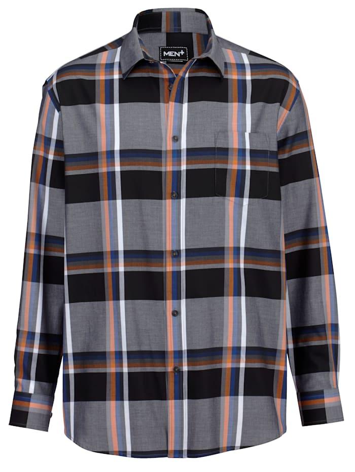 Men Plus Overhemd van zuiver katoen, Zwart/Wit/Marine