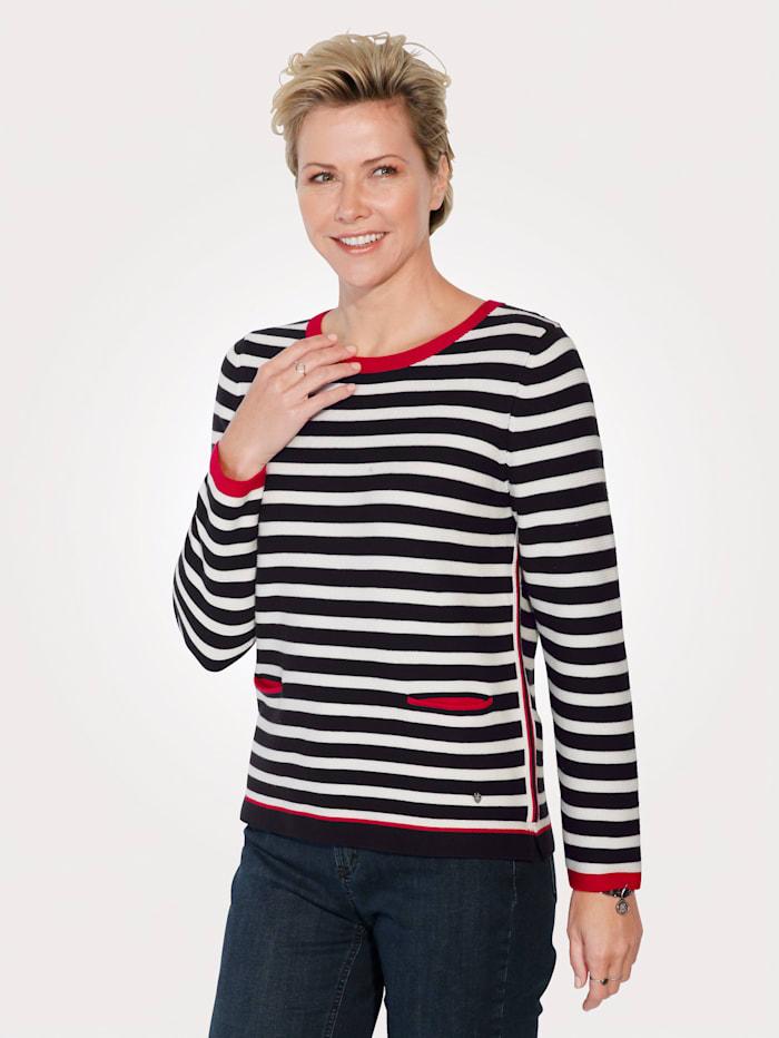 Rabe Pullover, Marineblau/Weiß/Rot