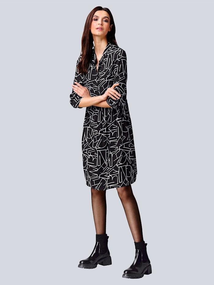 Alba Moda Kleid mit Allover Buchstaben-Print, Schwarz/Off-white