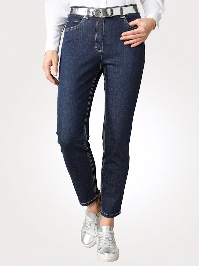 MONA Jeans i sportig 5-ficksmodell, Mörkblå