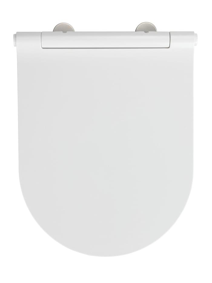 Wenko Premium WC-Sitz Nuoro, aus antibakteriellem Duroplast, mit Absenkautomatik, Weiß, Befestigung: Silber matt