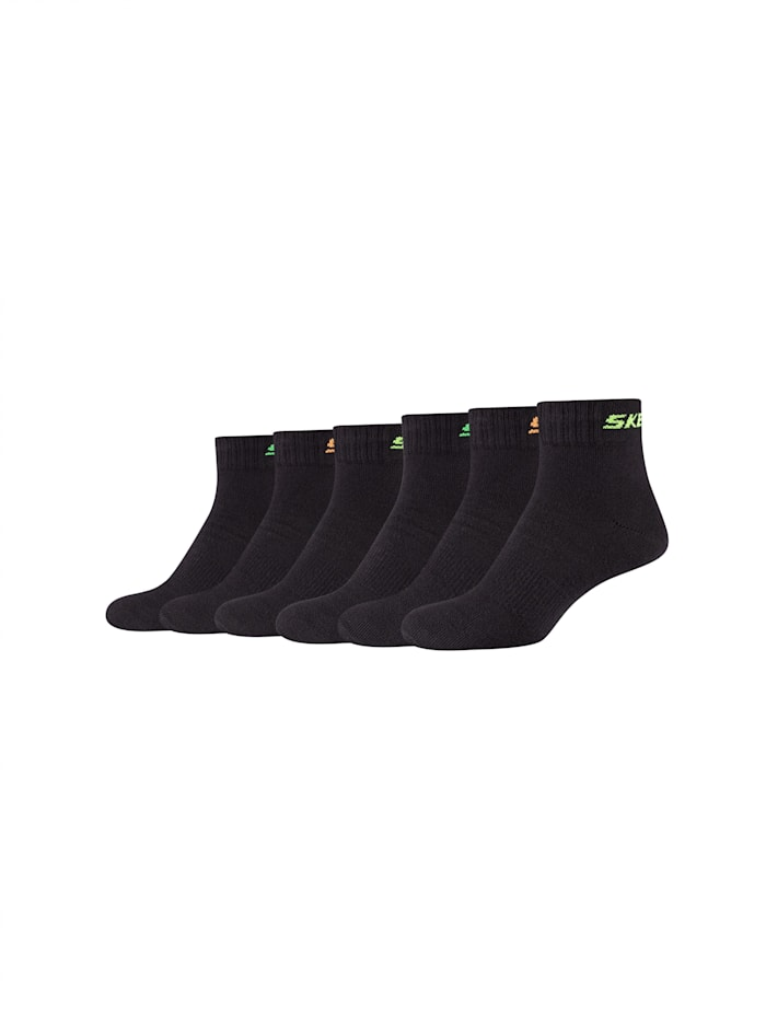 Skechers Kinder Kurzsocken 6er-Pack mit belüftender Mesh Ventilation, black