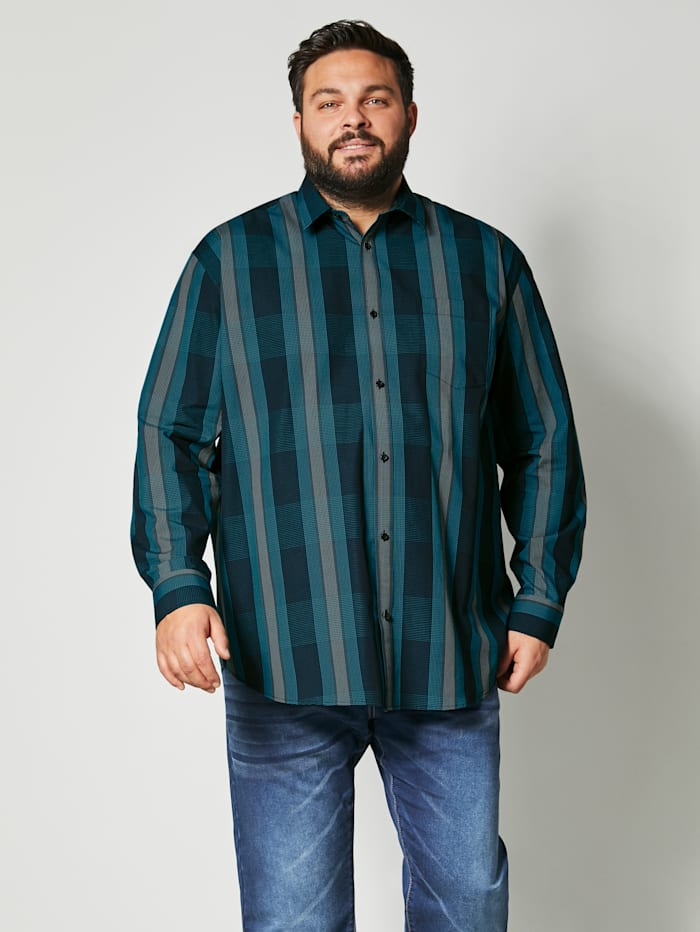 Men Plus Hemd Spezialschnitt, Petrol/Türkis