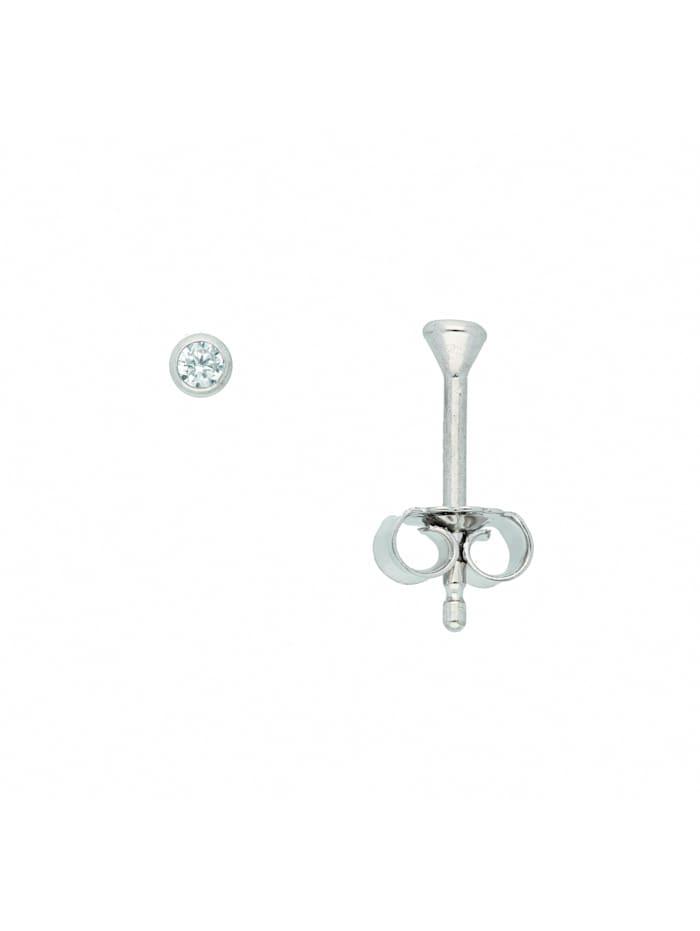 1001 Diamonds Damen Goldschmuck 585 Weißgold Ohrringe / Ohrstecker mit Zirkonia Ø 2,5 mm, silber