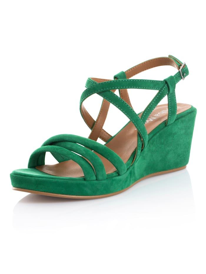 Alba Moda Sandaletter av getmocka, Grön