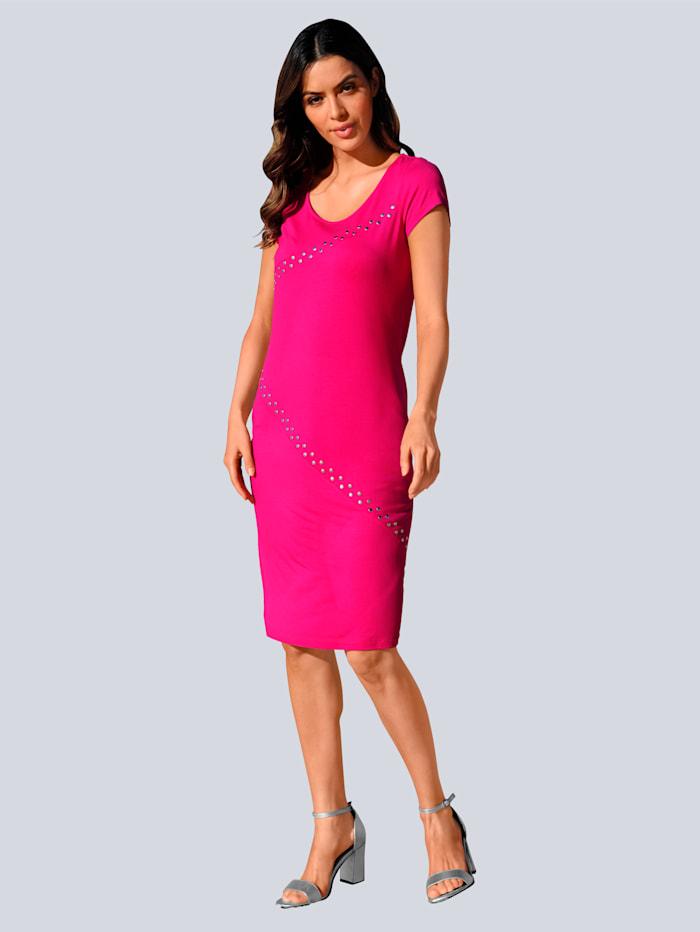 Alba Moda Strandkleid mit Nieten verziert, Pink
