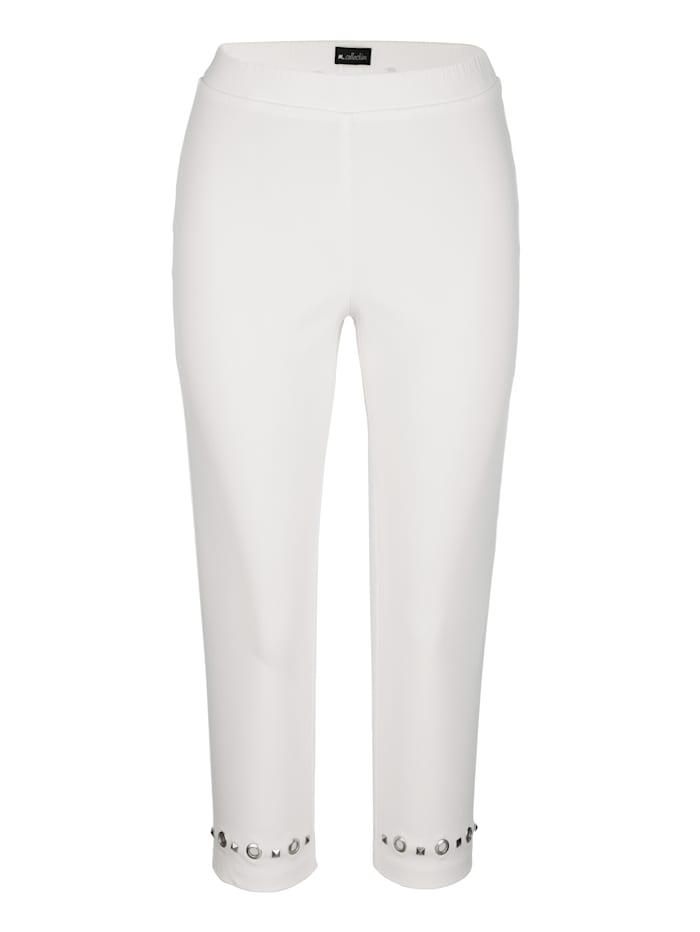 m. collection Capri nohavice vpredu na leme s očkami a nitmi, Ecru